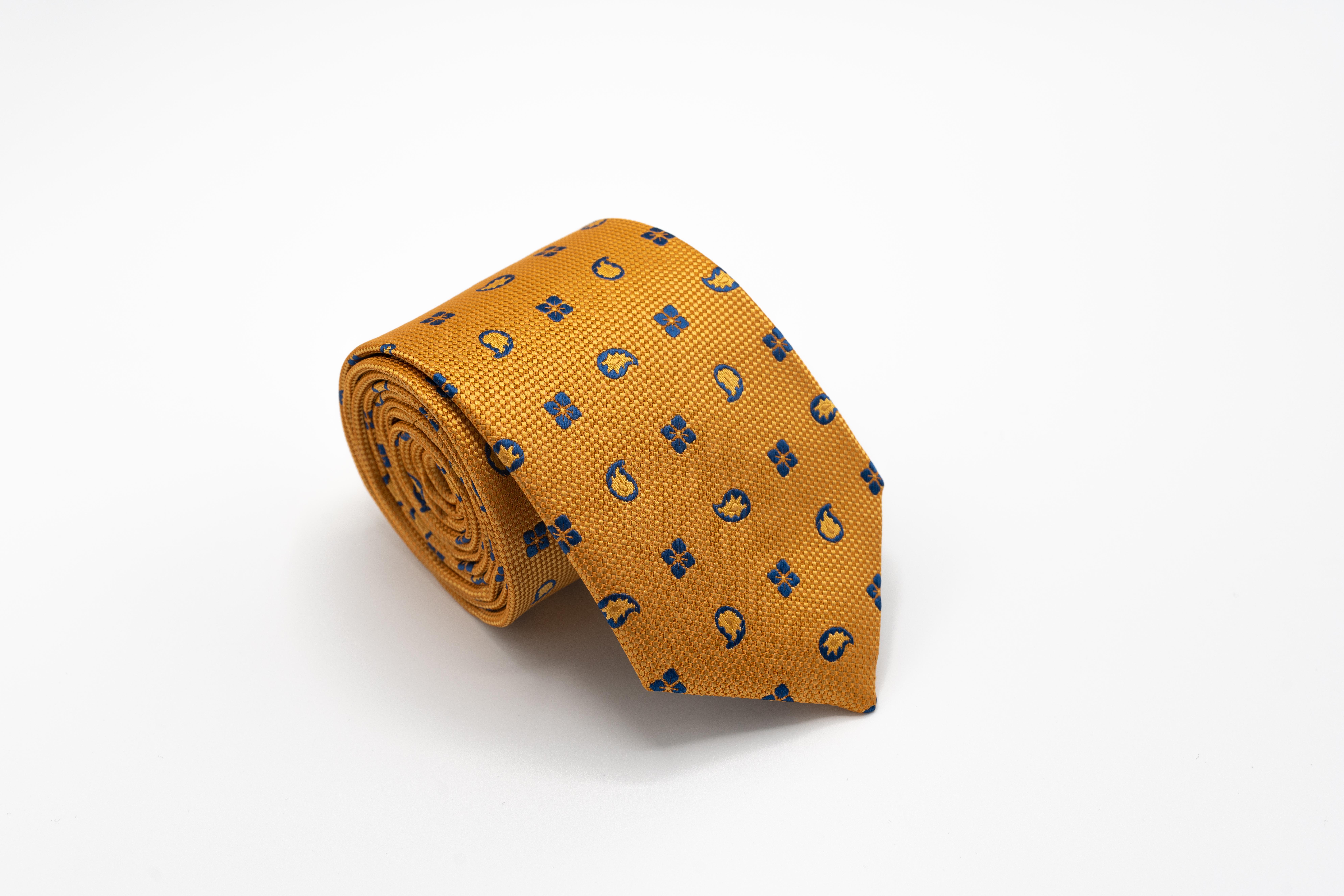 Cravata-Barbati-Galbena-Cu-Imprimeu-Albastru-Gentlemens-Boutique-