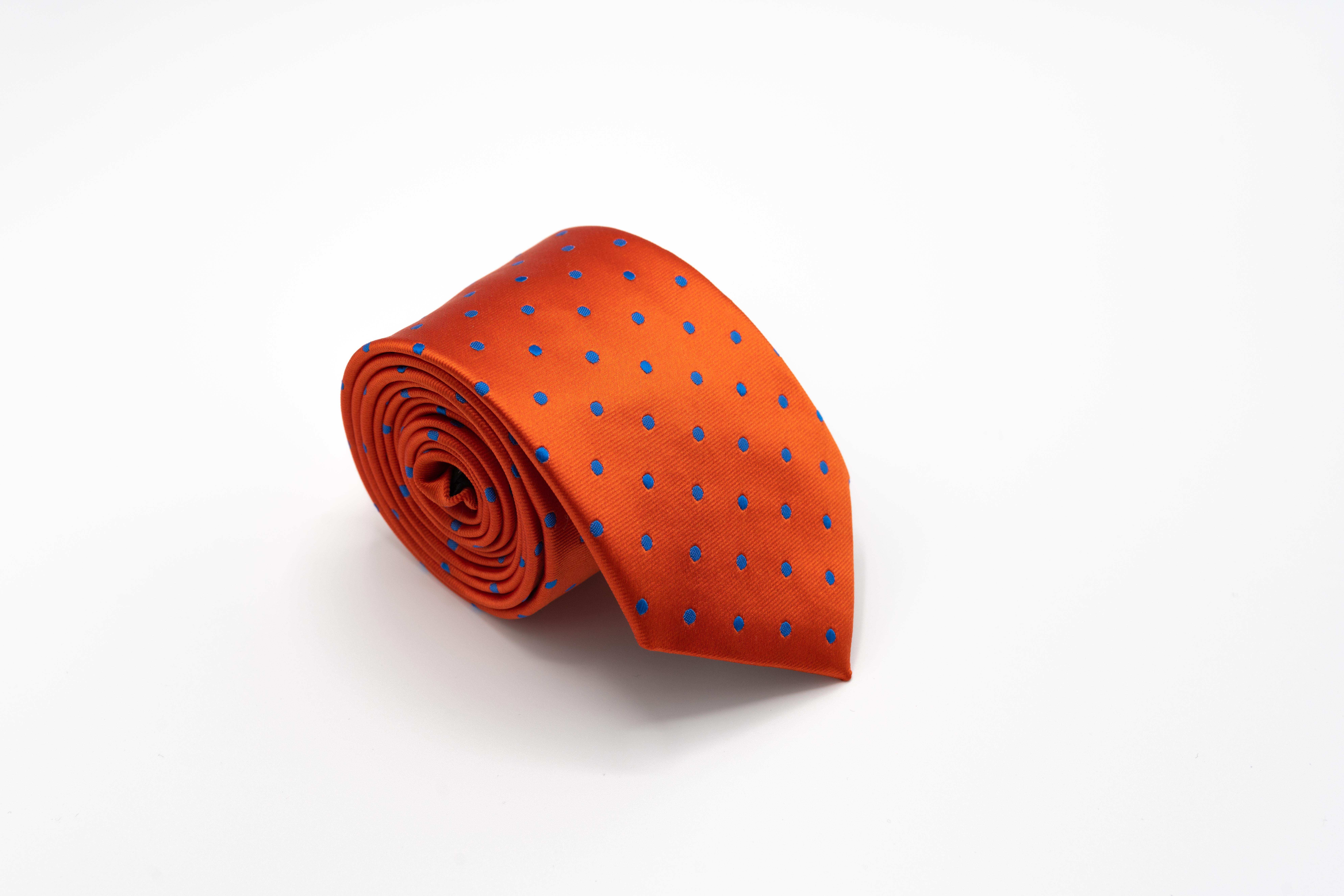 Cravata-Barbati-Orange-Cu-Buline-Albastre-Gentlemens-Boutique-